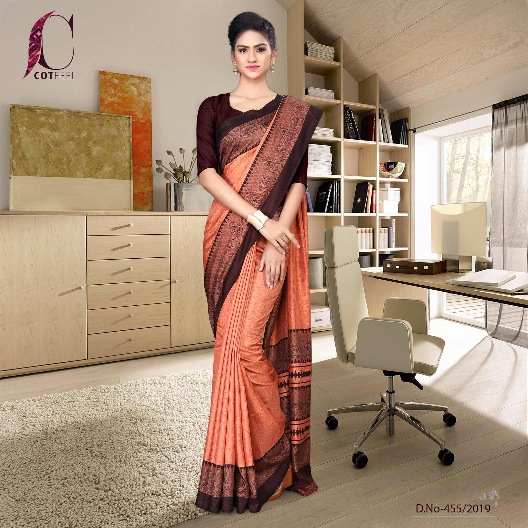 Orange and coffee tripura cotton school uniform saree