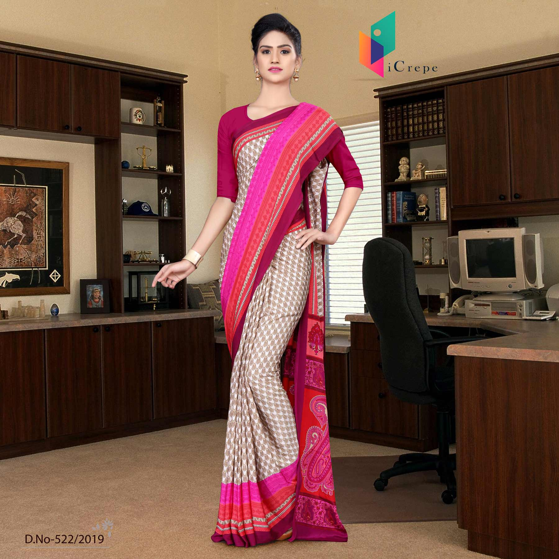 Brown and red italian crepe silk office wear uniform saree