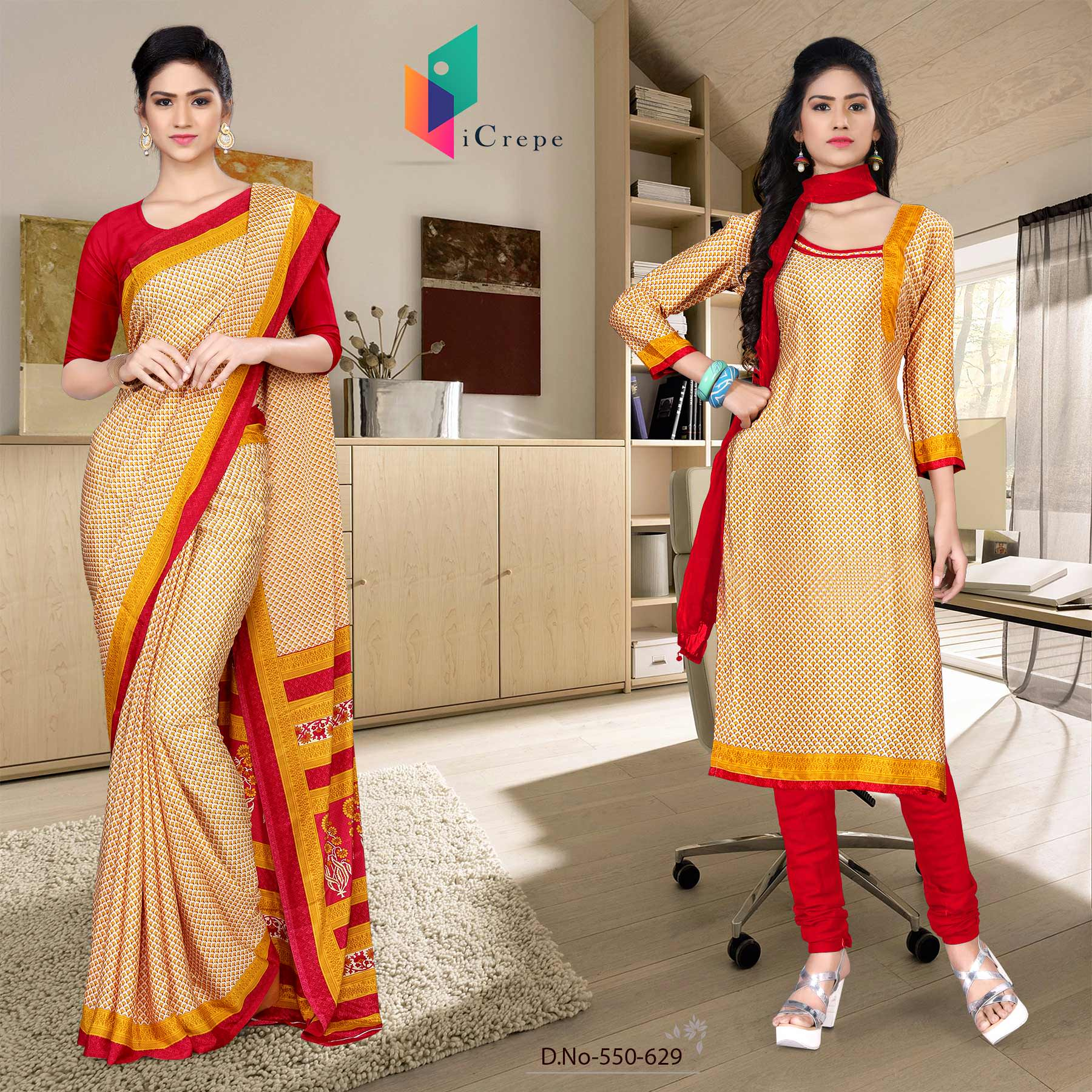 Off white and red italian crepe silk showroom uniform saree salwar combo