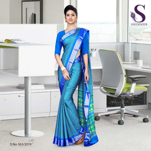Blue turquoise silk crepe jaquard border showroom uniform sarees