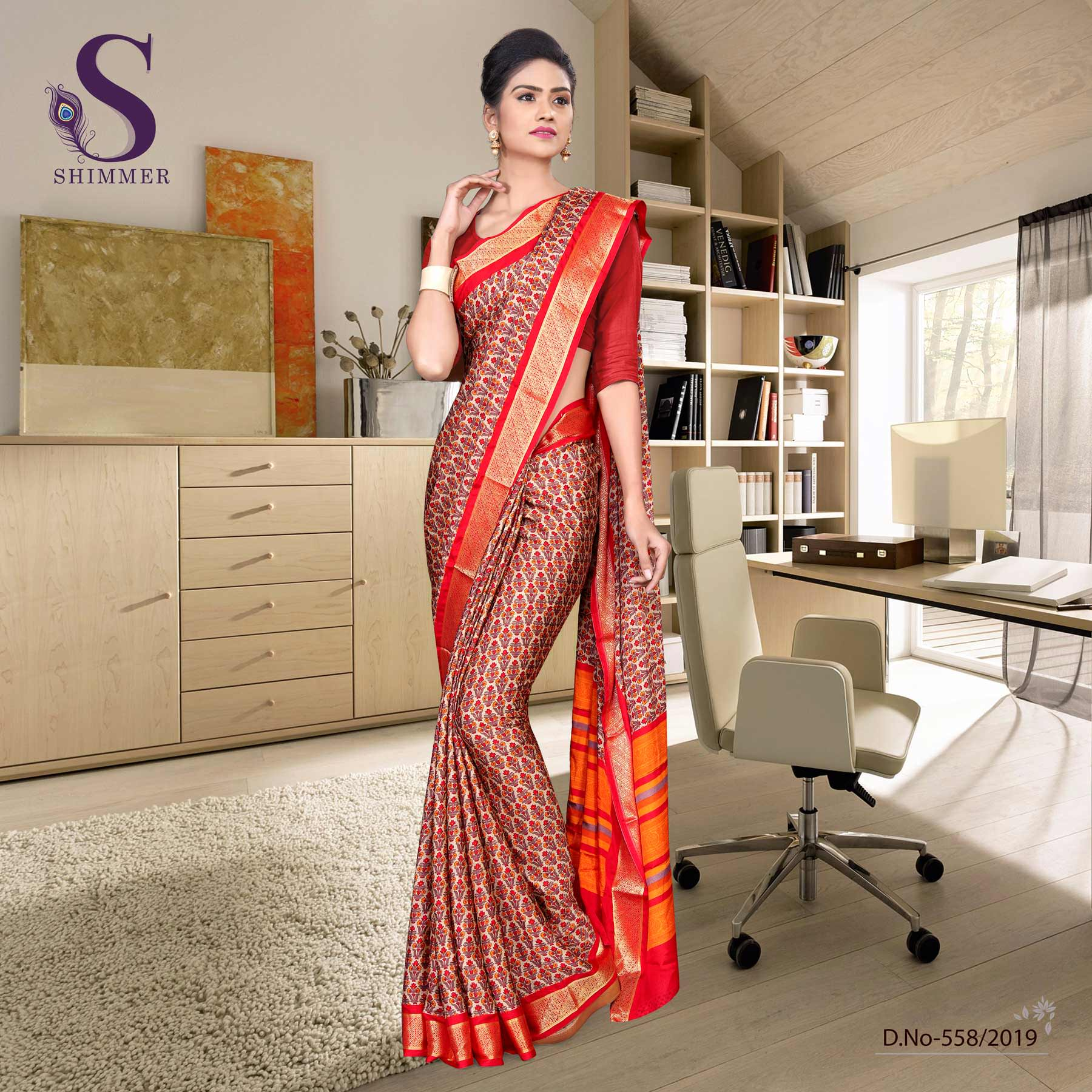 Off white red silk crepe jaquard border hotel uniform sarees