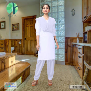 All White Women's Poly Cotton Unstitched Salwar Kameez Dress Materials for Mourning Funeral Occassions