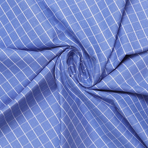 Blue Chex Men's Cotton Unstitched Shirt Fabric for Corporate Uniform Workwear