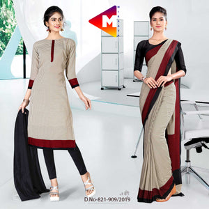 BLACK AND GREY MIRRAYA SILK INSTITUTE UNIFORM SAREE SALWAR COMBO