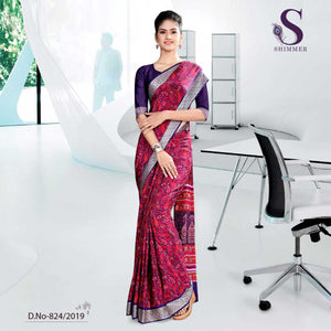 BLACK AND PINK SCHOOL  SHIMMER UNIFORM SAREES