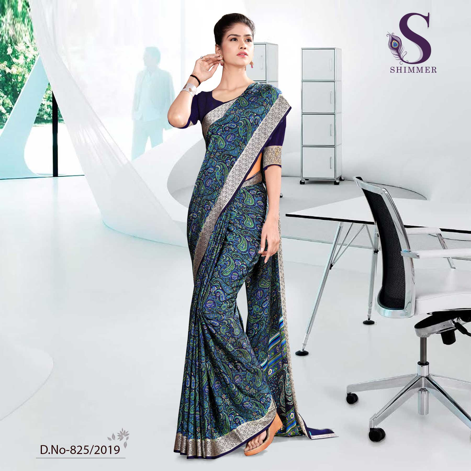BLUE AND BLACK  SCHOOL  SHIMMER UNIFORM SAREES