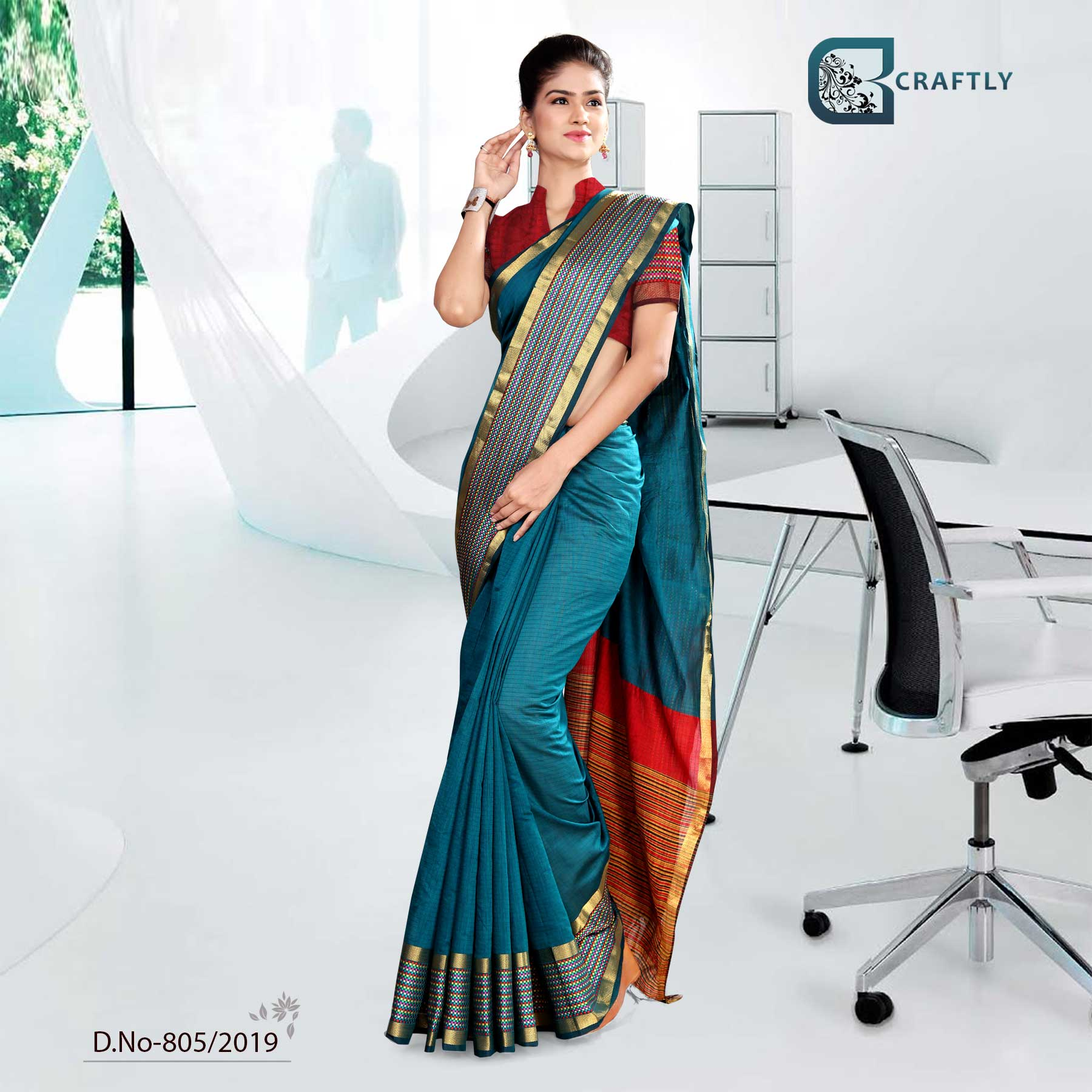 BLUE AND ORANGE  CRAFTLY COTTON INSTITUTE UNIFORM SAREE