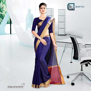 BLUE AND YELLOW WITH OFF WHITE BODER CRAFTLY COTTON CORPORATE UNIFORM SAREE
