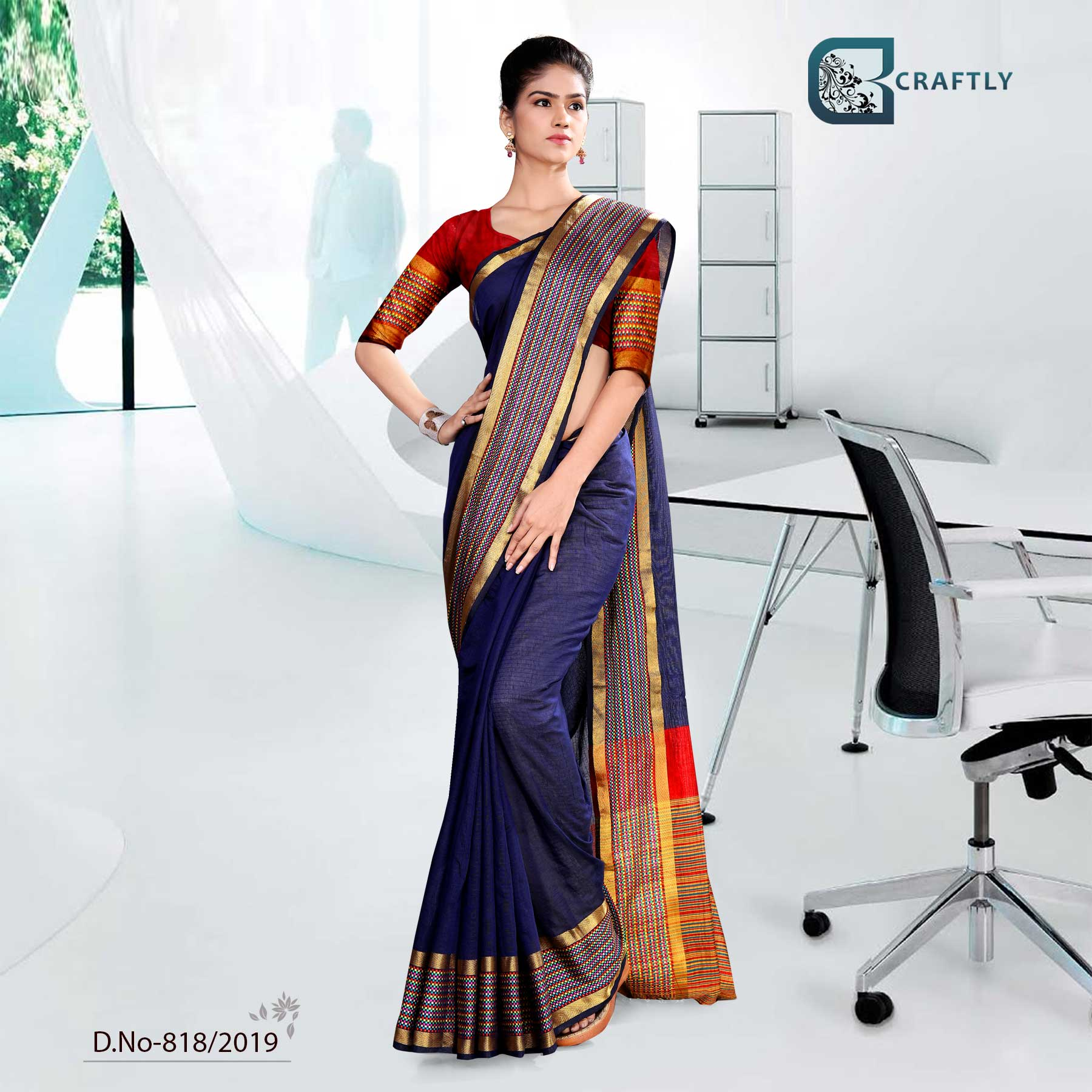 BLUE AND YELLOW WITH ORANGE COLOR  CRAFTLY COTTON CORPORATE UNIFORM SAREE