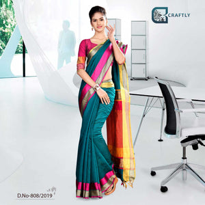 GREEN AND YELLOW  CRAFTLY COTTON CORPORATE UNIFORM SAREE