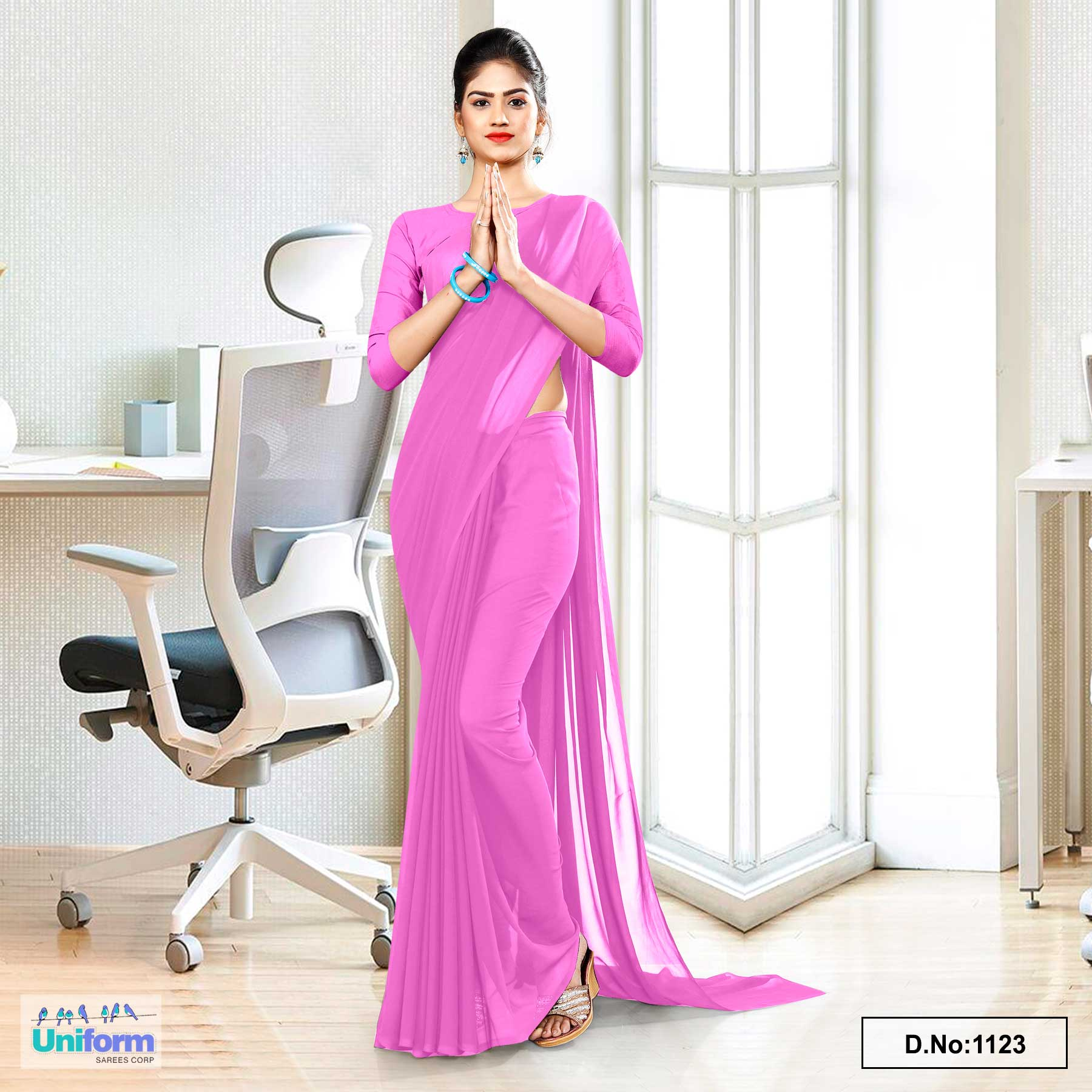 Baby Pink Soft Georgette Plain Uniform Sarees For Front Office Staff