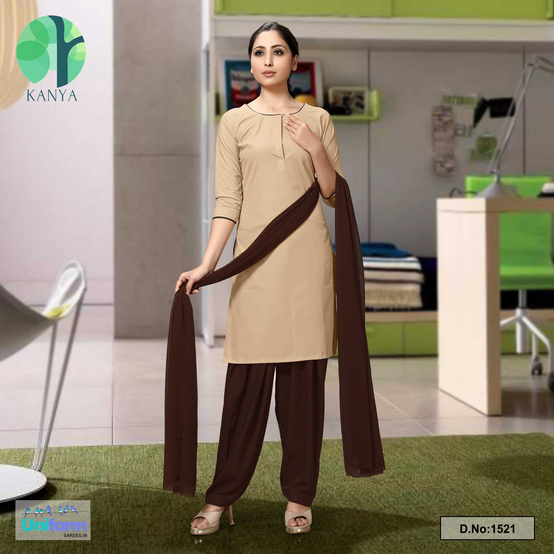 Beige Coffee Poly Cotton Unstitched Salwar Kameez Dress Materials for Cleaning Staff