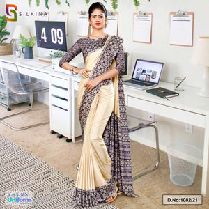 Beige Gray Printed Blouse Concept Polycotton Raw Silk Saree for Industrial Uniform Sarees