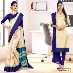 Beige Navy Blue Gala Border Premium Polycotton CotFeel Saree Salwar Combo for Institution Uniform Sarees 1074