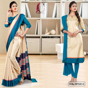 Beige Peacock Blue Gala Border Premium Polycotton CotFeel Saree Salwar Combo for Hospital Uniform Sarees 1073