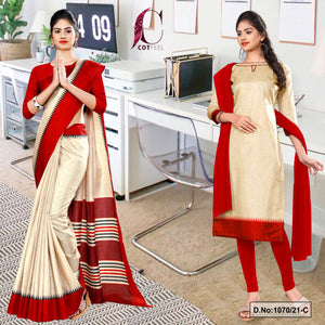 Beige Red Gala Border Premium Polycotton CotFeel Saree Salwar Combo for School Uniform Sarees 1070