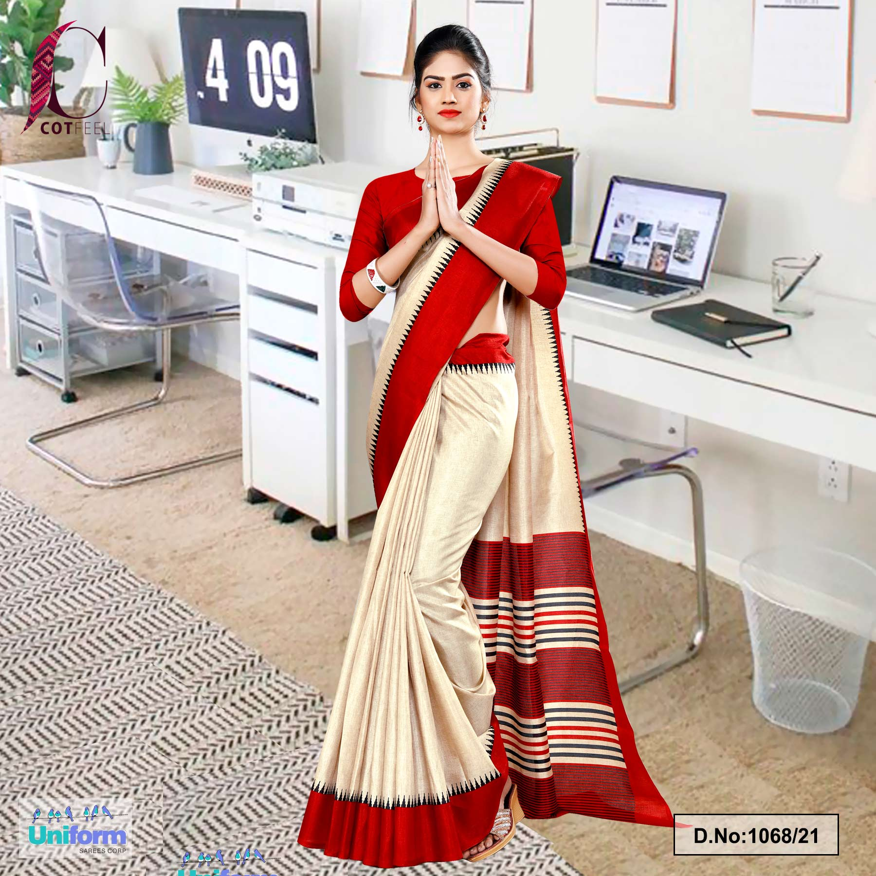 Beige Red Gala Border Premium Polycotton CotFeel Saree for School Uniform Sarees