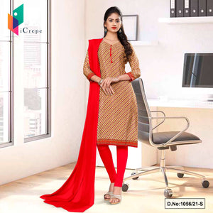 Beige Red Small Print Premium Italian Silk Crepe Uniform Salwar Kameez for Students