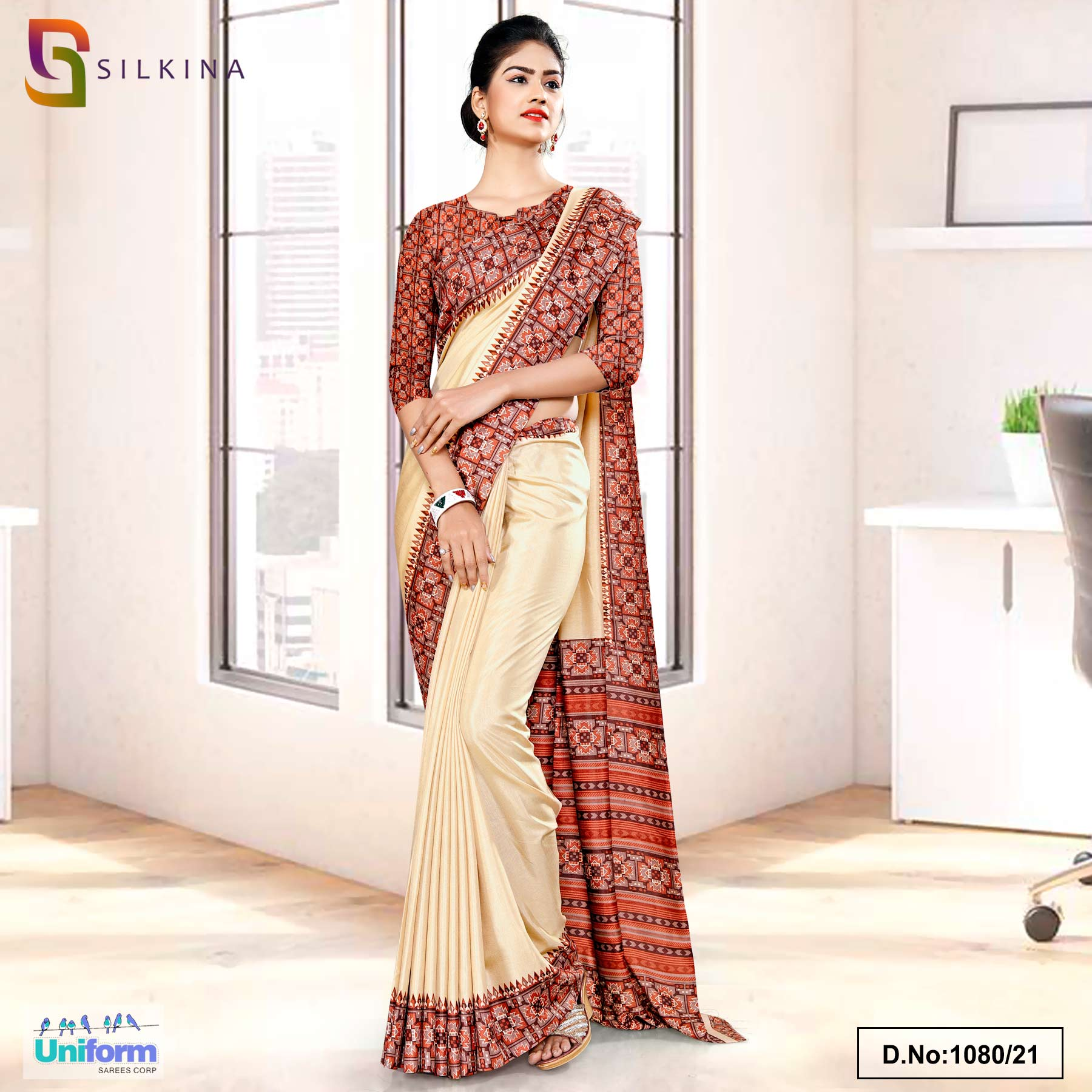 Beige Rust Printed Blouse Concept Polycotton Raw Silk Saree for College Uniform Sarees