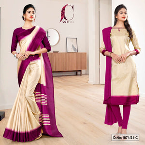 Beige Wine Gala Border Premium Polycotton CotFeel Saree Salwar Combo for Teachers Uniform Sarees 1071