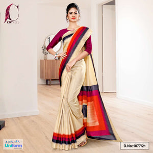 Beige Wine Gala Border Premium Polycotton CotFeel Saree for Front Office Uniform Sarees