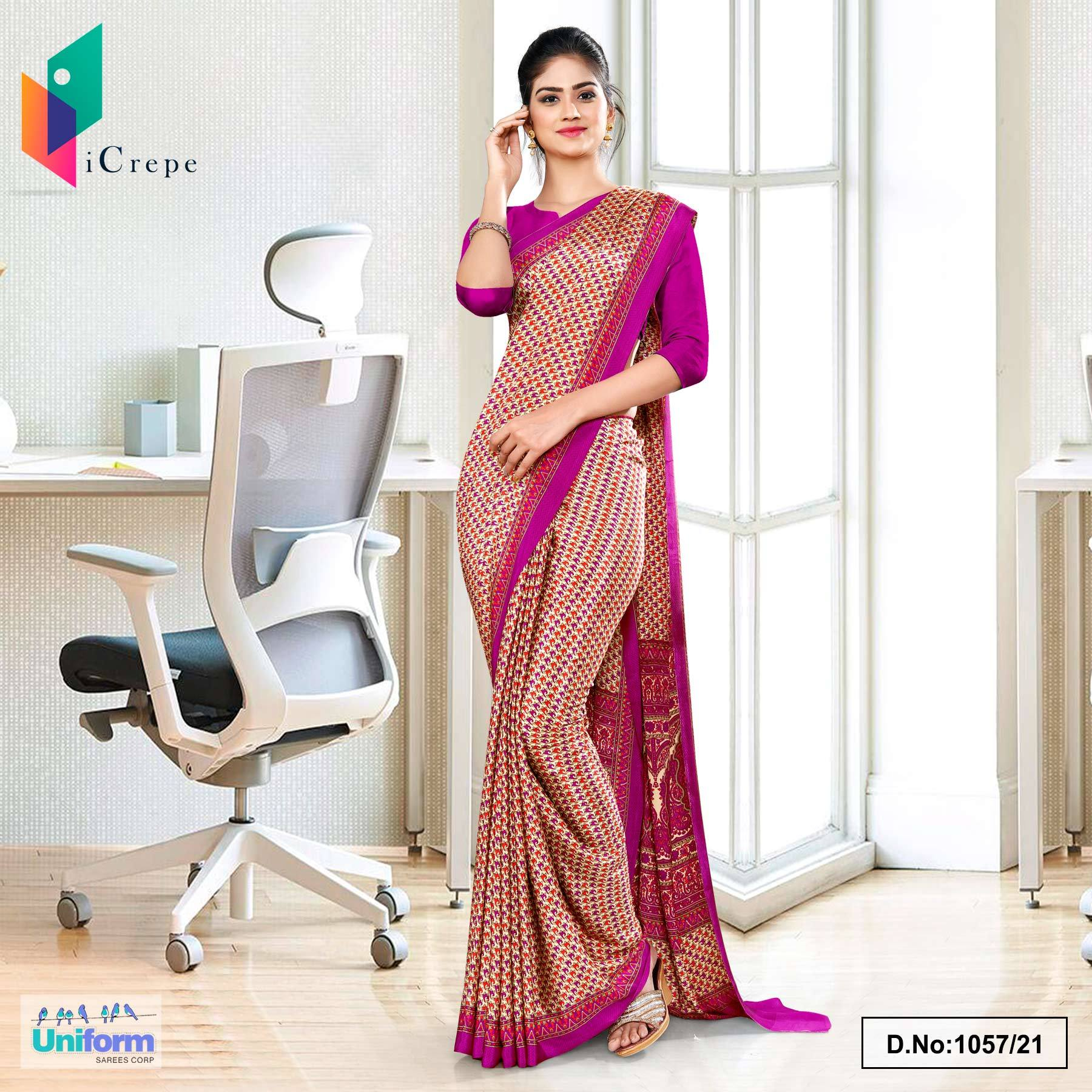 Beige Purple Small Print Premium Italian Silk Crepe Uniform Sarees for Workers