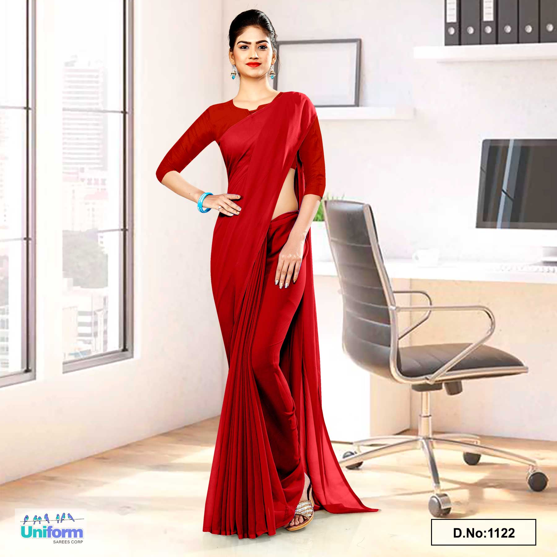 Blood Red Soft Georgette Plain Uniform Sarees For Working Women