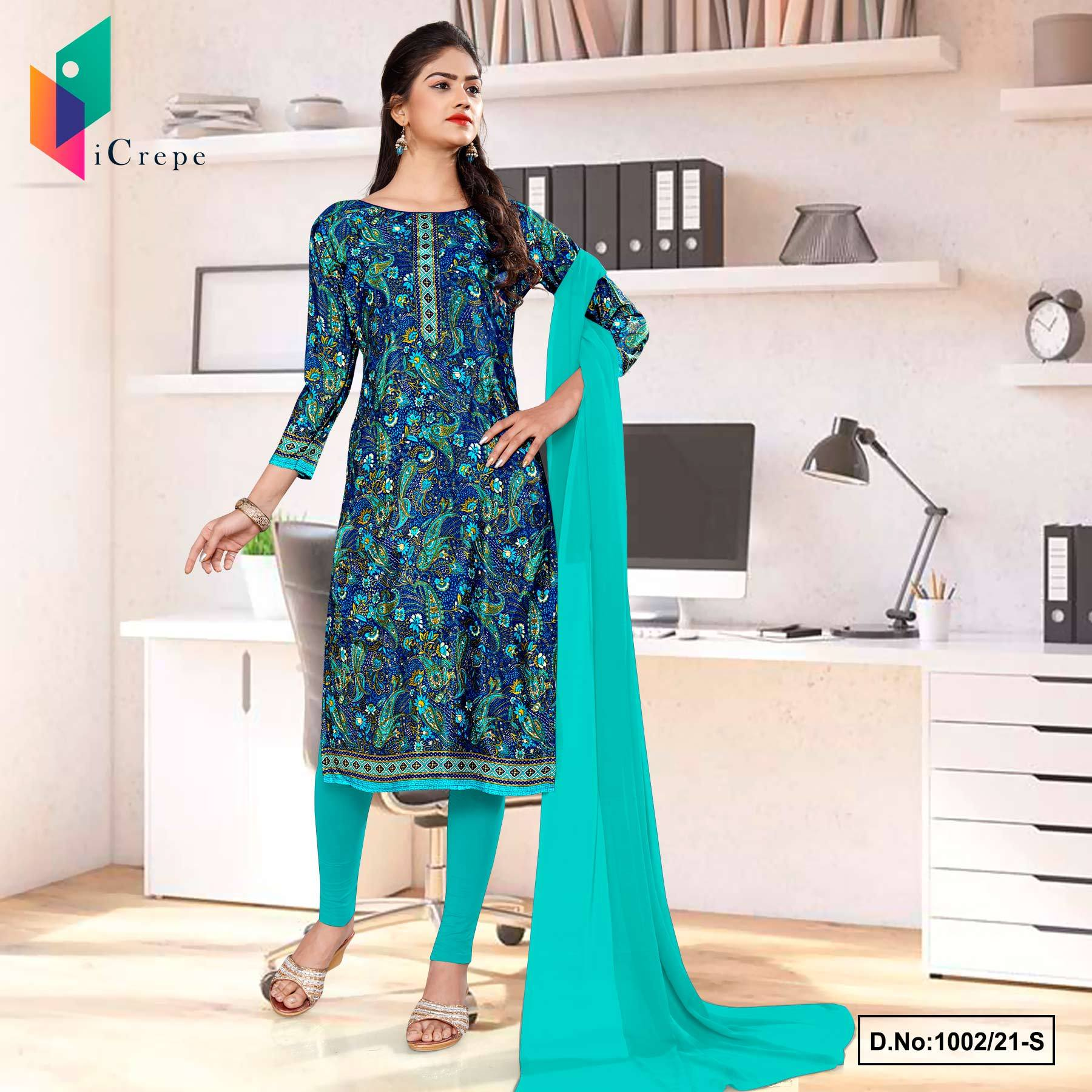 Blue Green Premium Paisley Print Italian Crepe Salwar Kameez for Teachers Uniform Sarees