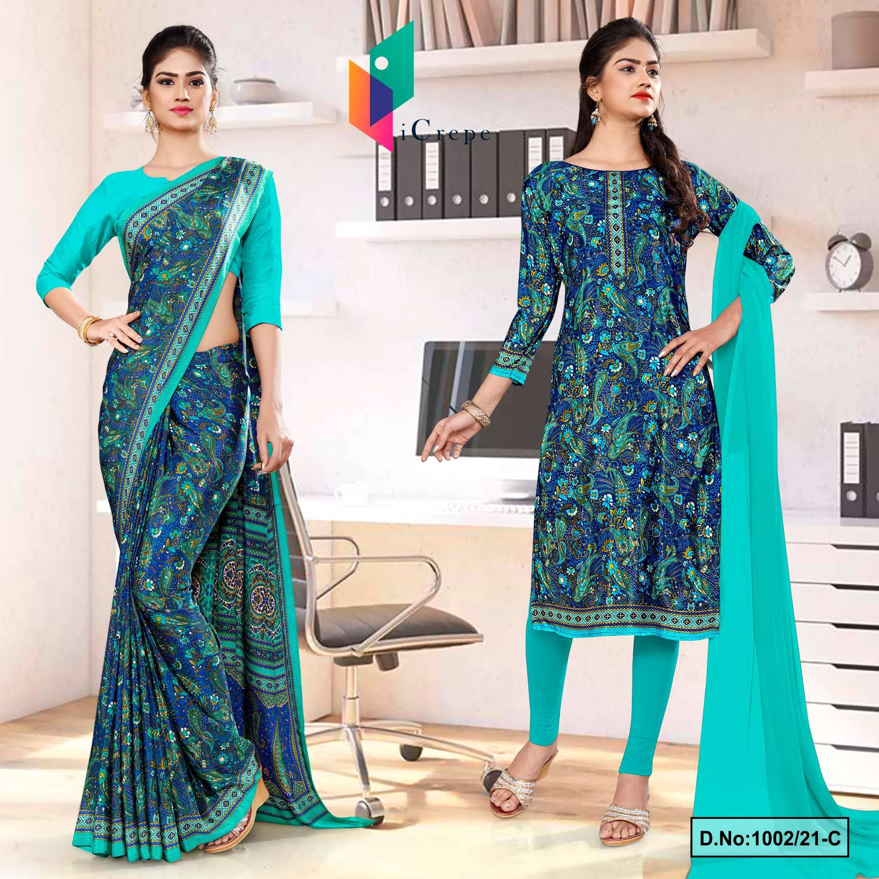 Blue Green Premium Paisley Print Italian Crepe Saree Salwar Combo for Teachers Uniform Sarees