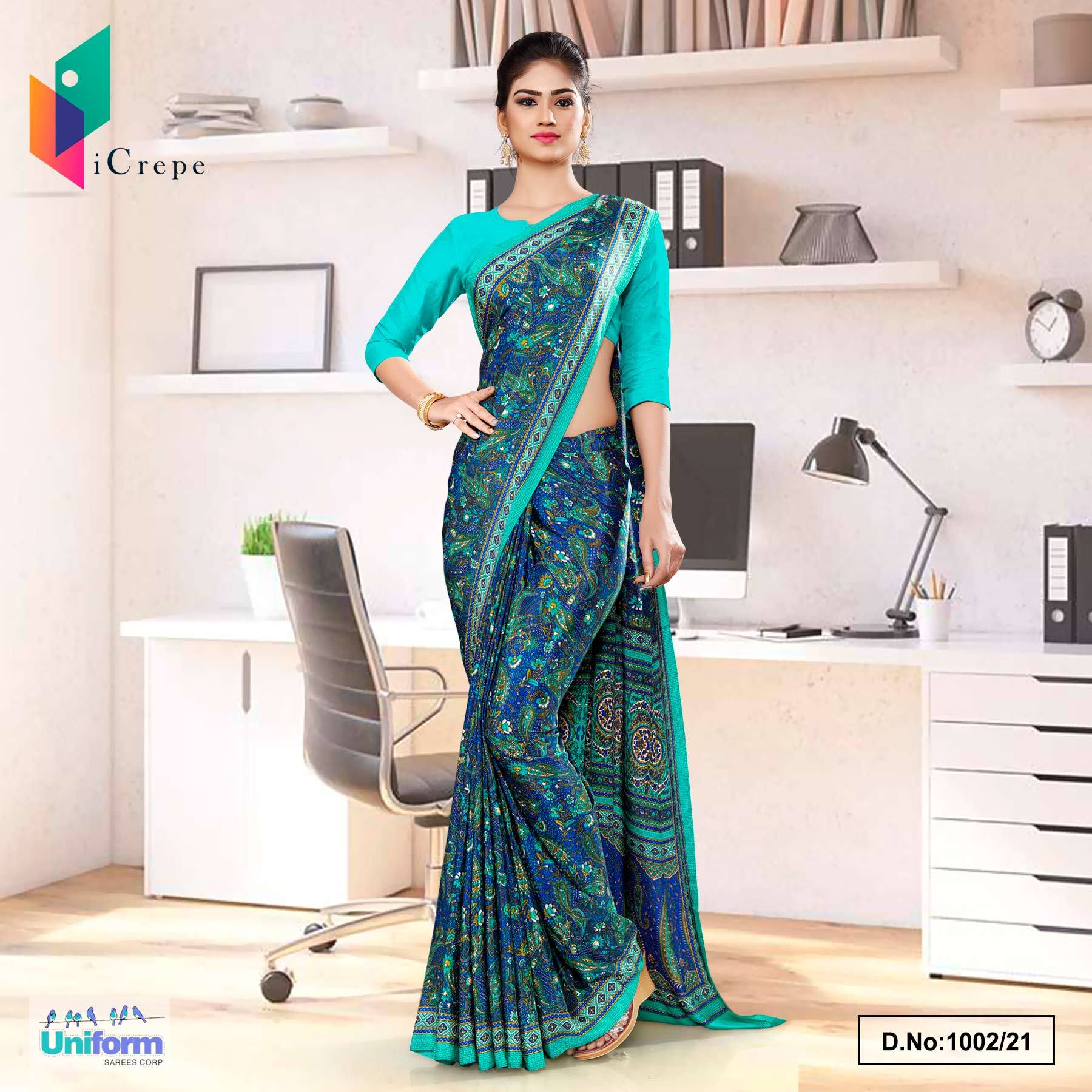 Blue Green Premium Paisley Print Italian Crepe Saree for Teachers Uniform Sarees