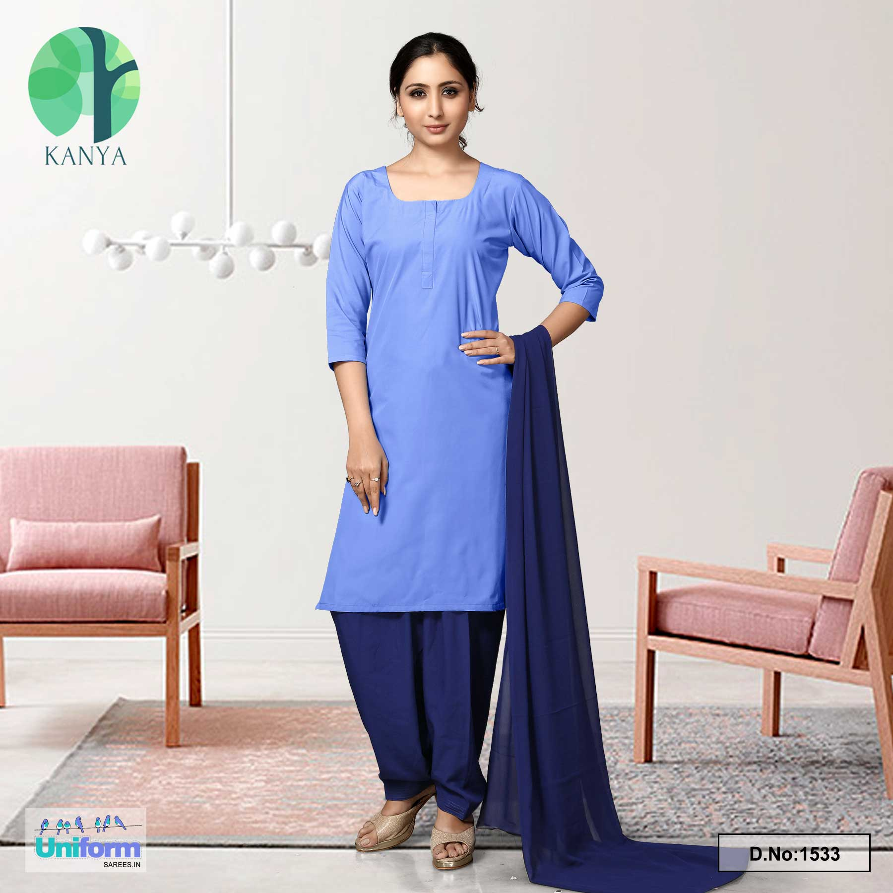 Blue Nevy Blue Women's Poly Cotton Unstitched Salwar Kameez Dress Materials for Housekeeping Uniforms