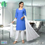Blue White Women's Poly Cotton Unstitched Salwar Kameez Dress Materials for Girls School Students Uniforms