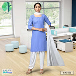 Blue White Women's Poly Cotton Unstitched Salwar Kameez Dress Materials for Govt School Girls Student Uniforms