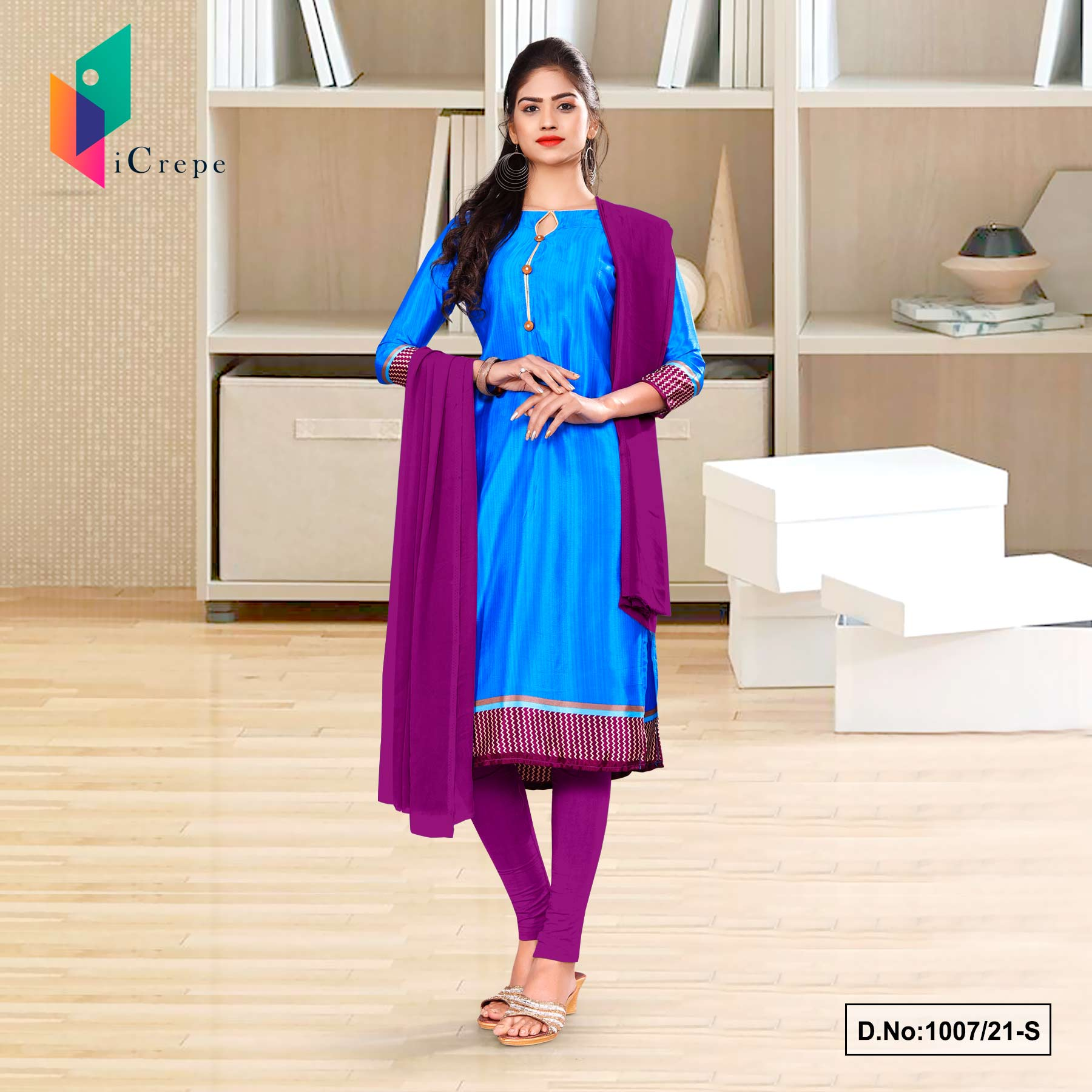 Blue Wine Premium Italian Silk Crepe Salwar Kameez for Jelwellery Showroom Uniform Sarees