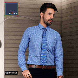 Blue Chex Formal Uniform Shirts for Corporate Office SB-113154