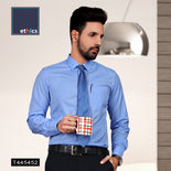 Men's Cotton Plain Unstitched Shirt Fabric (Blue, Free Size)