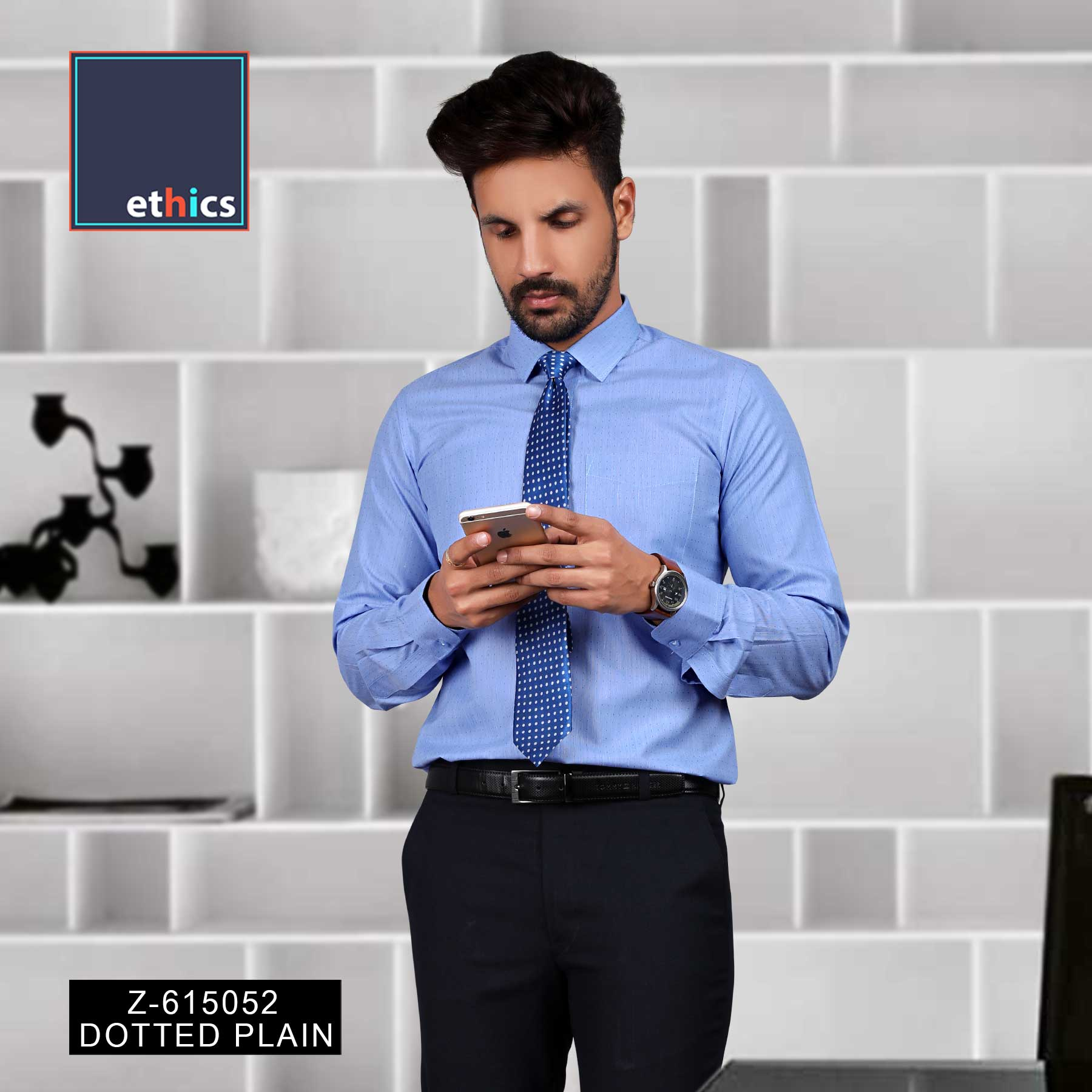 Dotted Blue Men's Corporate Uniform Shirts for Industrial Workforce