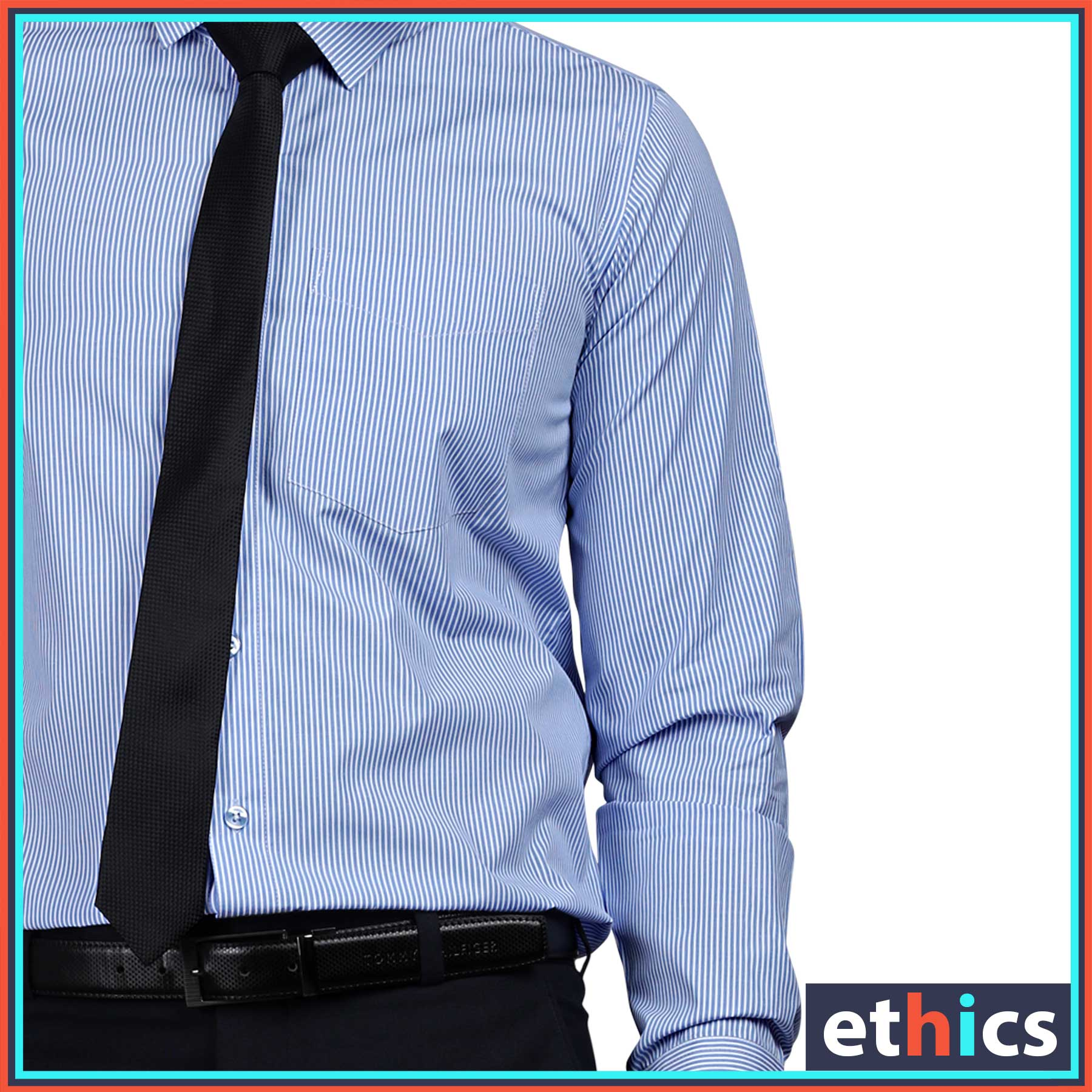 Blue Stripes Uniform Shirts Formal Work wear for Corporate Office BS-85104