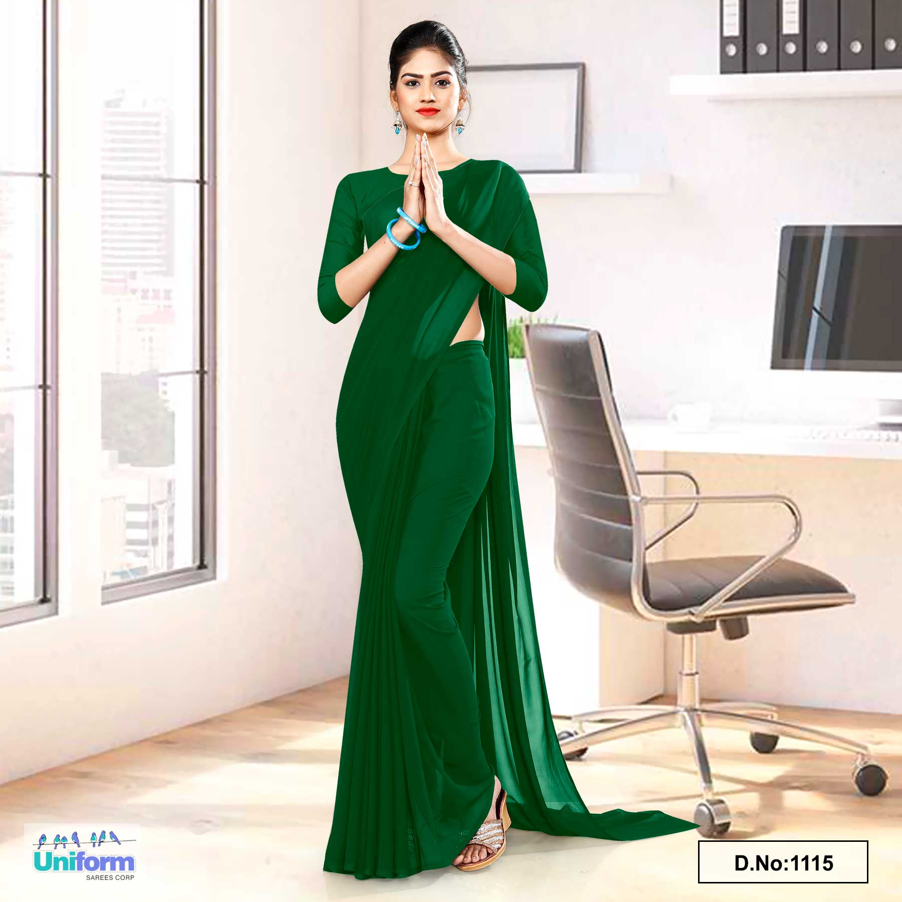 Bottle Green Soft Georgette Plain Uniform Sarees For School Lady Peons