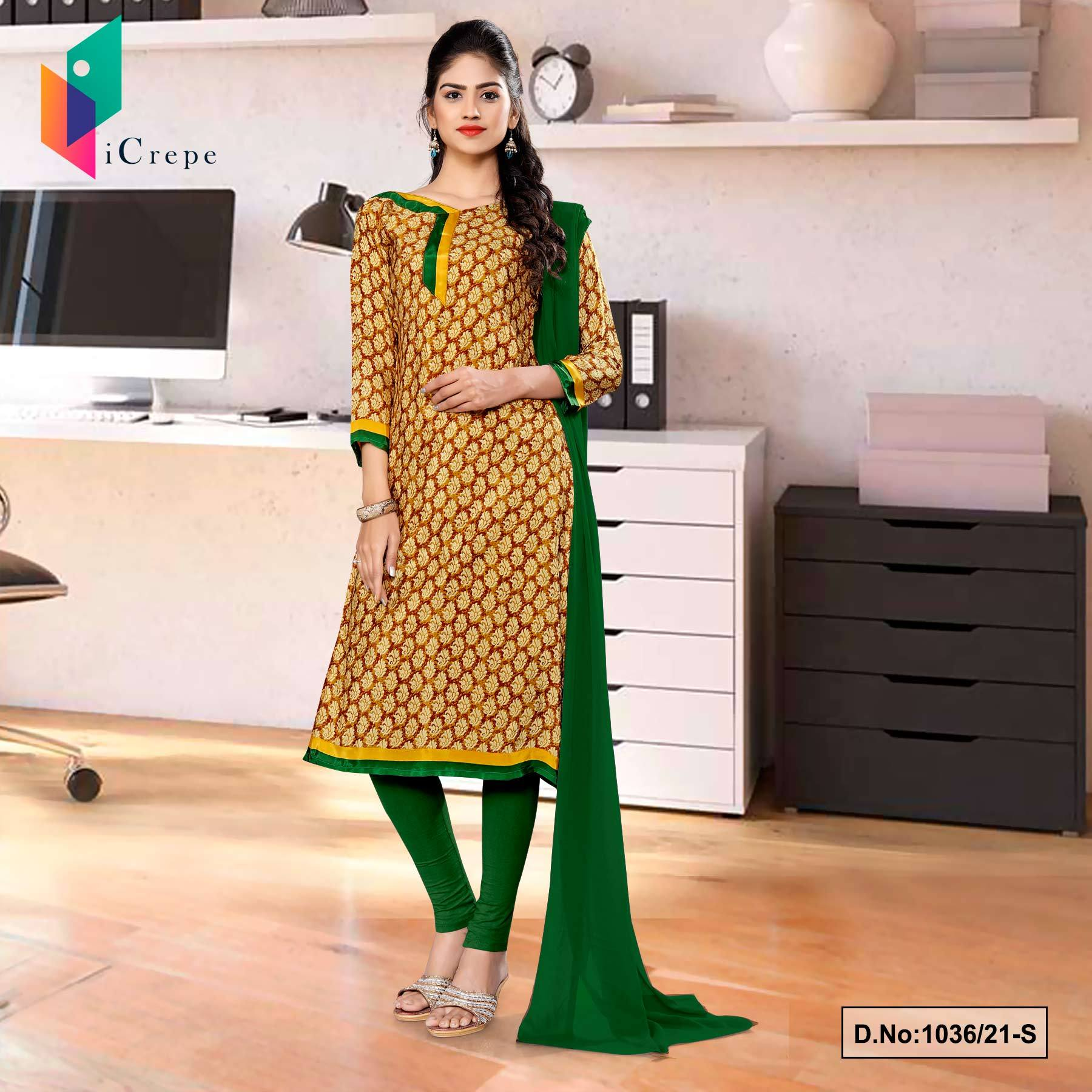 Brown Bottle Green Premium Italian Silk Crepe Salwar Kameez for Annual Function Uniform Sarees