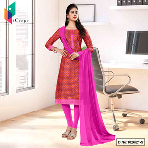 Brown Pink Small Print Premium Italian Silk Crepe Salwar Kameez for Front Office Uniform Sarees