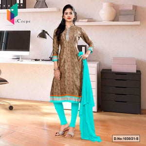 Brown Sea Green Premium Italian Silk Crepe Salwar Kameez for Receptionist Uniform Sarees