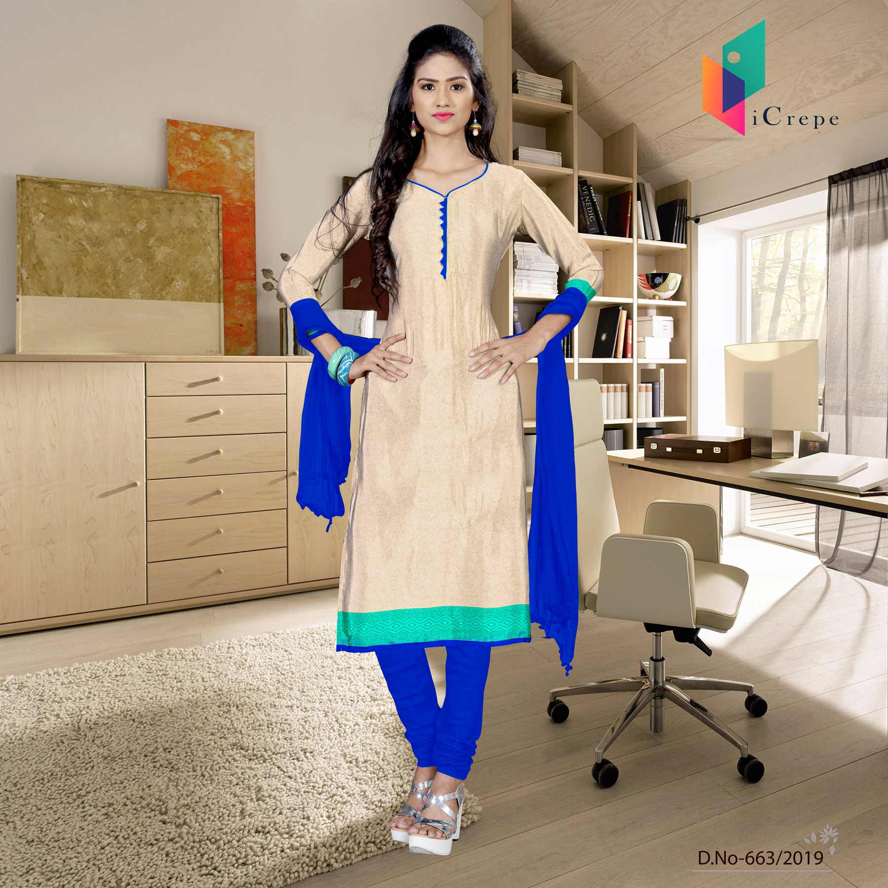 Off white and blue italian crepe silk college uniform salwar kameez