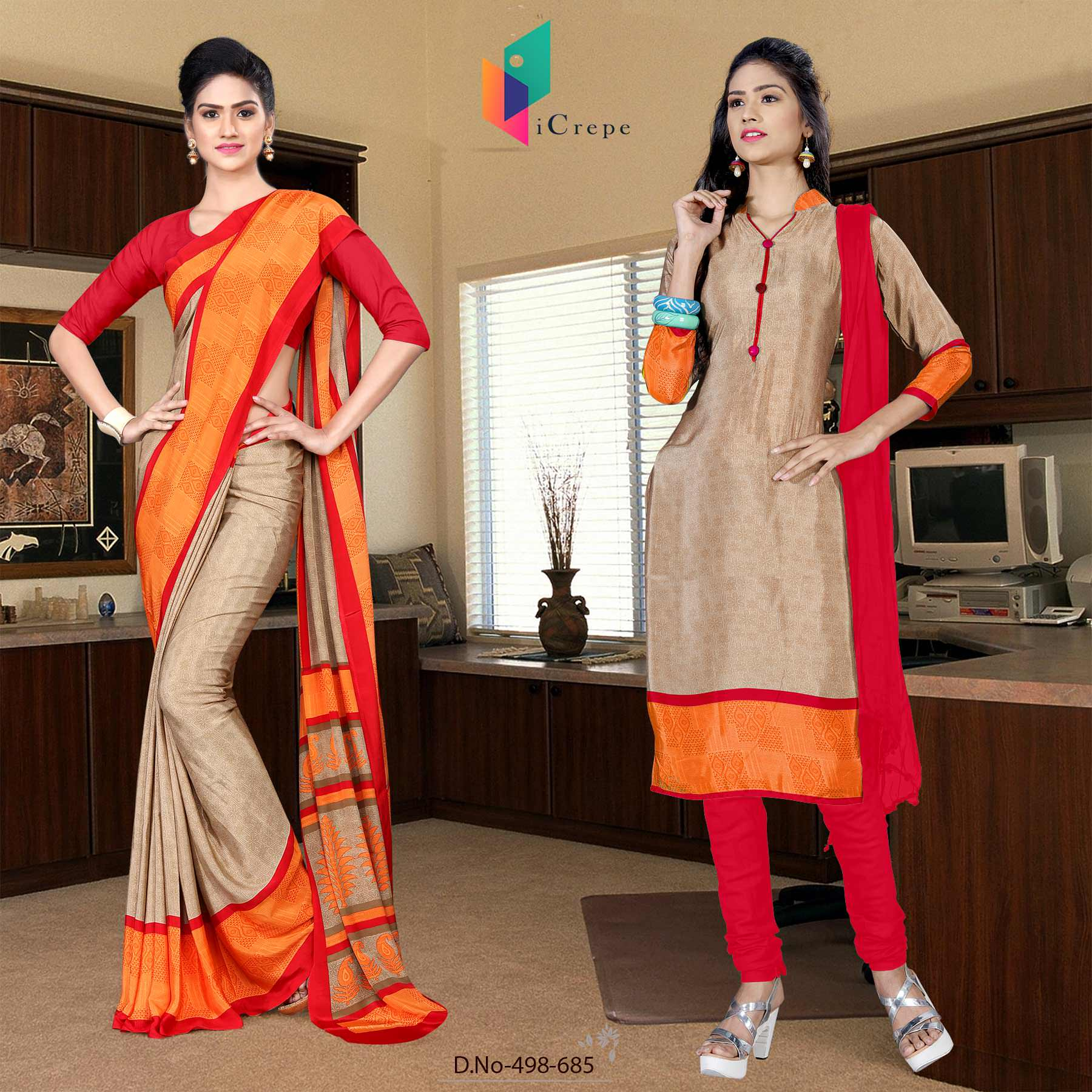 Brown and red italian crepe silk staff uniform saree salwar combo