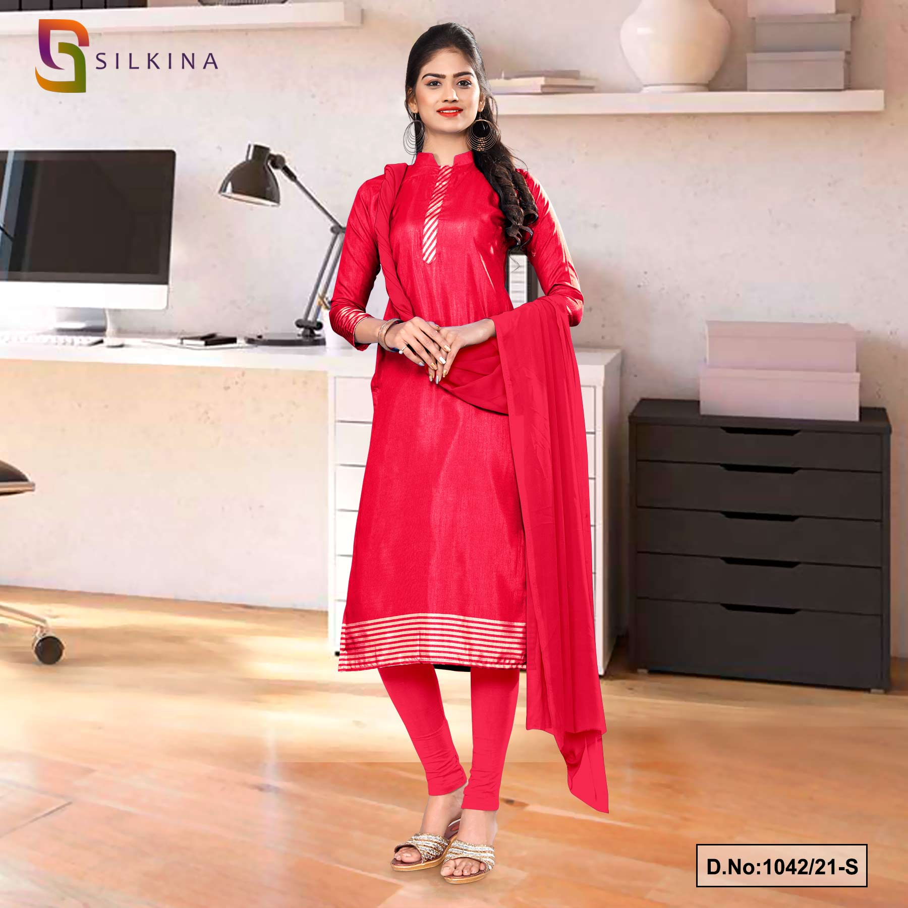 Carrot Pink Plain Border Premium Polycotton Raw Silk Salwar Kameez for Employee Uniform Sarees