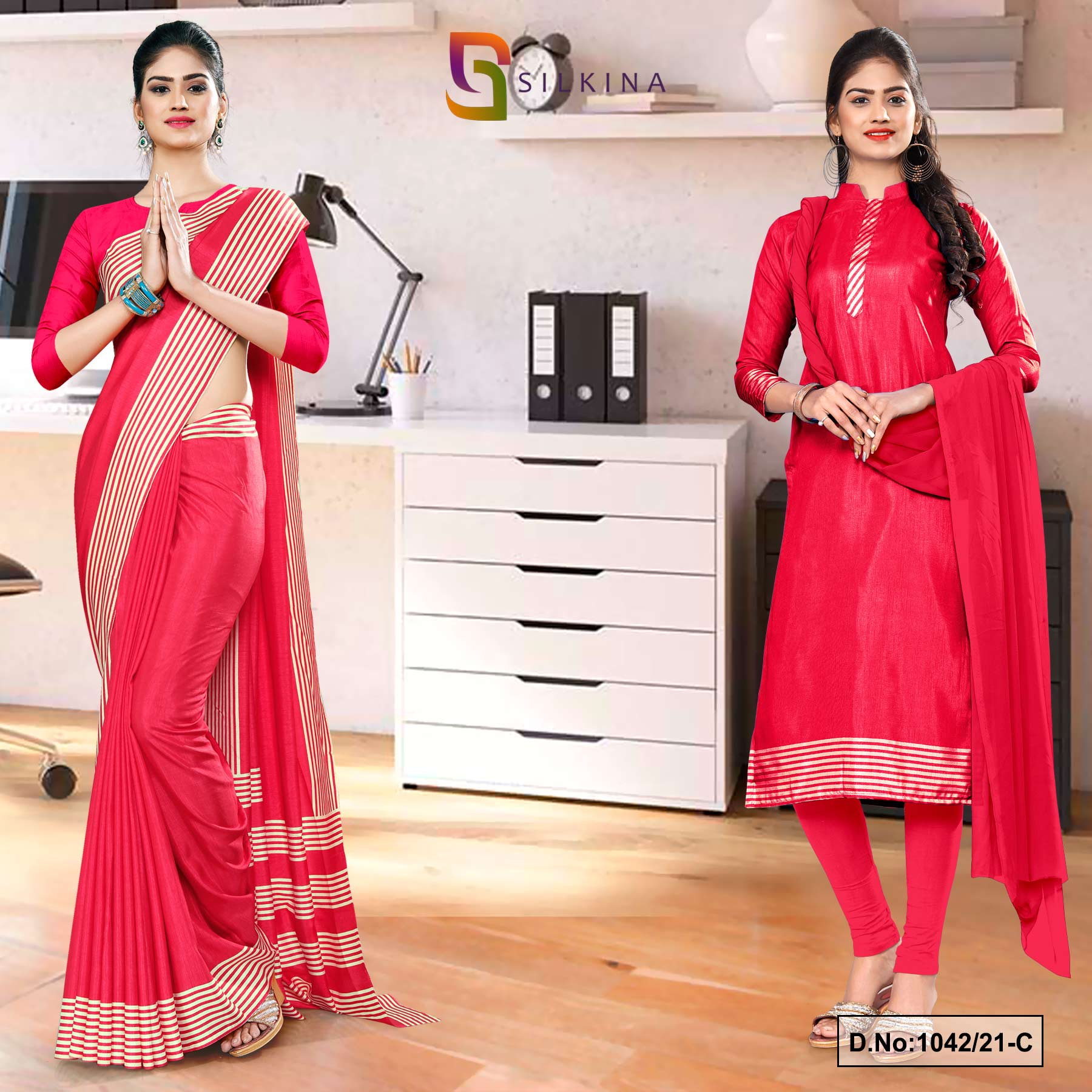 Carrot Pink Plain Border Premium Polycotton Raw Silk Saree Salwar Combo for Employee Uniform Sarees