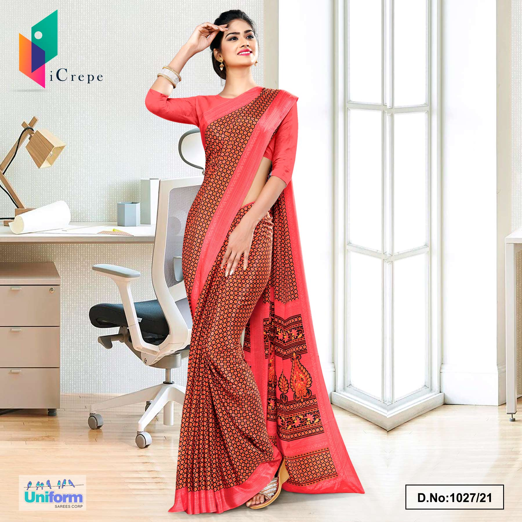 Carrot Pink  and Brown Small Print Premium Italian Silk Crepe Uniform Sarees for School Teachers