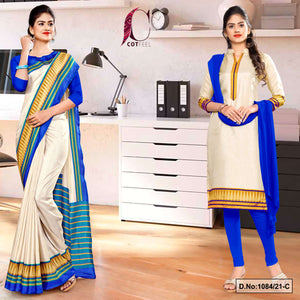 Cream Blue Plain Gala Border Polycotton Cotfeel Saree Salwar Combo for Workers Uniform Sarees 1084