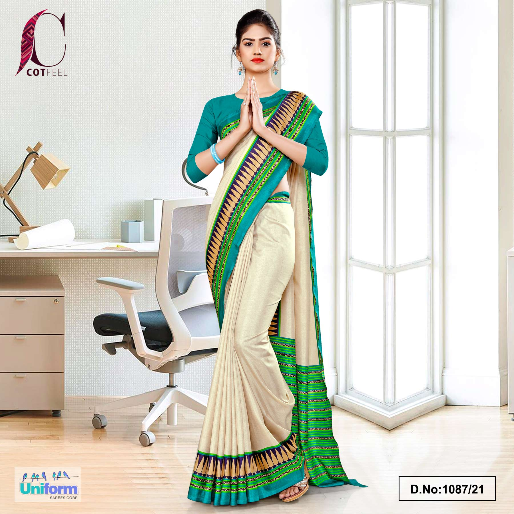 Cream Green Plain Gala Border Polycotton Cotfeel Saree for Annual Function Uniform Sarees