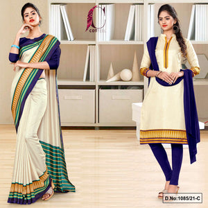 Cream Navy Blue Plain Gala Border Polycotton Cotfeel Saree Chudi Combo for Showroom Uniform Sarees 1085